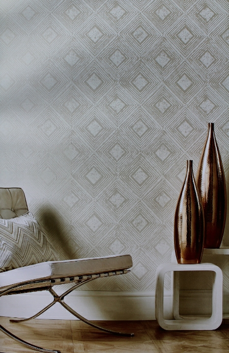 silver wallpaper with geometric design