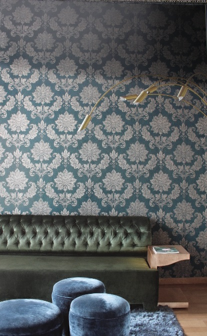 teal traditional wallpaper