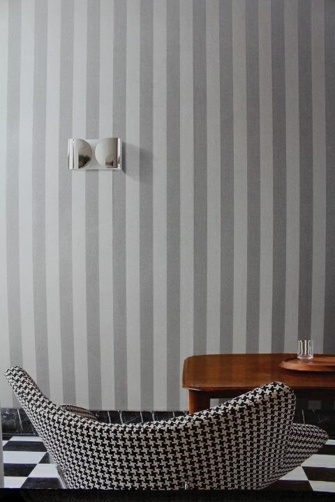 grey silver wide striped wallpaper