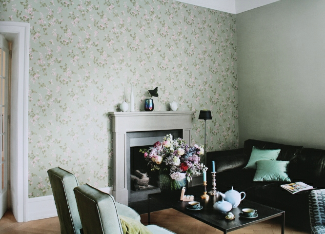 pastel green flower wallpaper