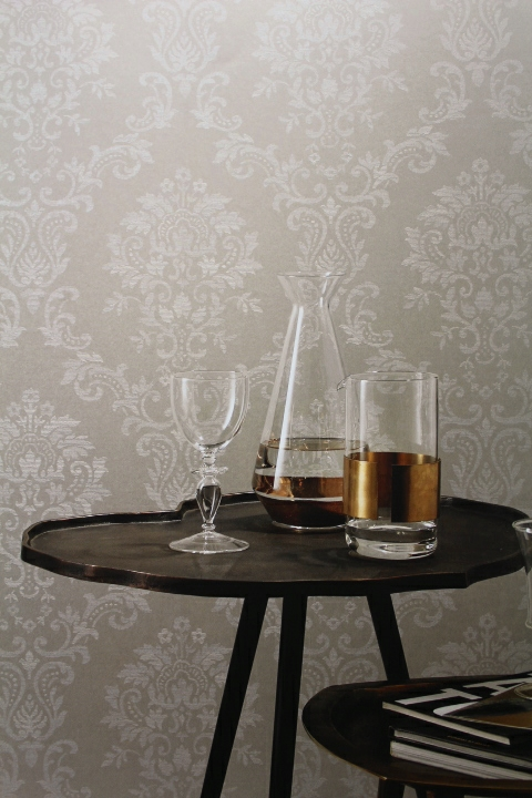 white sheen contemporary damask wallpaper