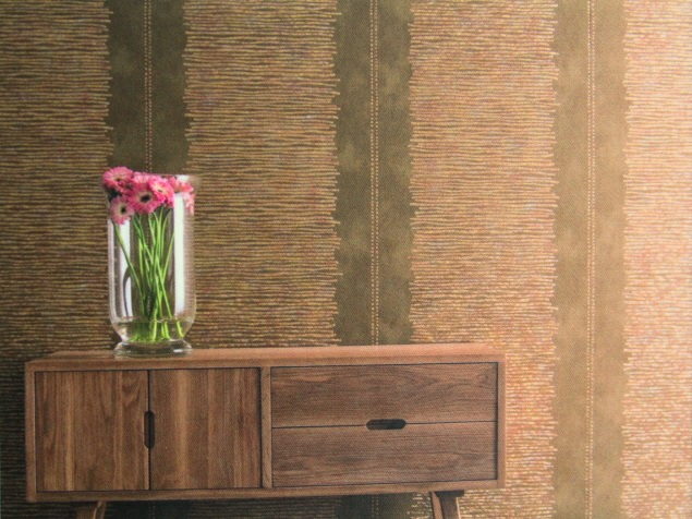 warm gold contemporary striped wallpaper