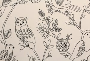 black and white children's bird colour in wallpaper