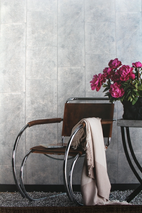 metallic tiles effect wallpaper