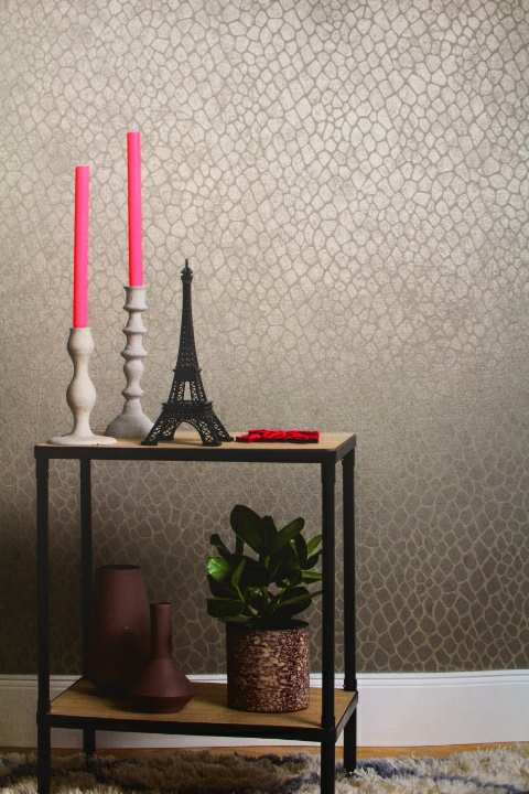 taupe sheen feature wallpaper