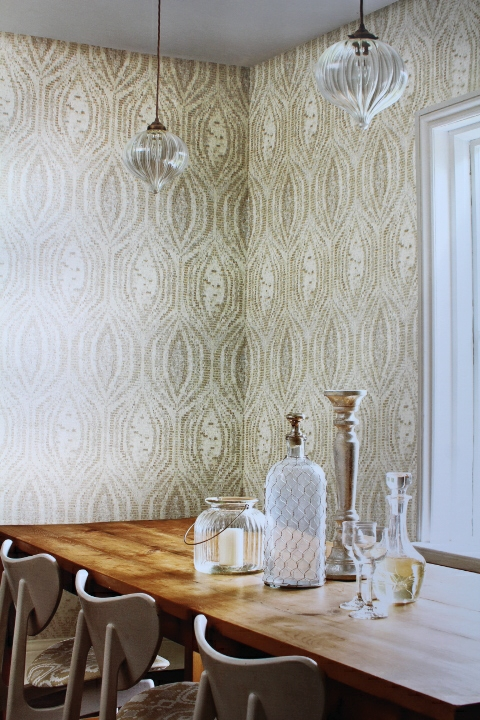 metallic mosaic feature wallpaper
