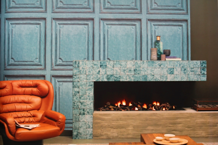 teal wooden panel