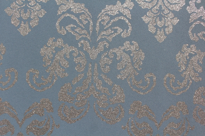 Blue Grey Metallic Damask Wallpaper GL411G05