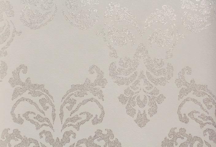 White Sheen Damask Wallpaper GL411G07