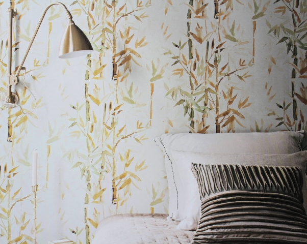 natural bamboo wallpaper with leaves