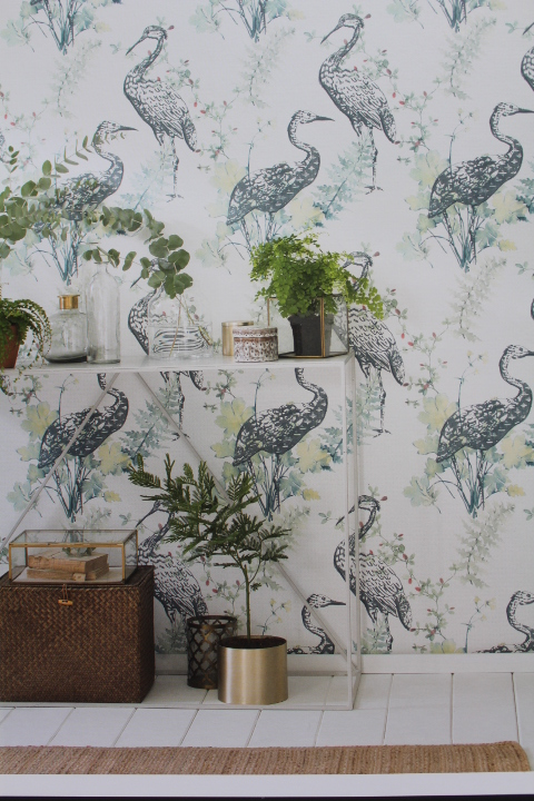 stork feature wallpaper with blue and green accent colours