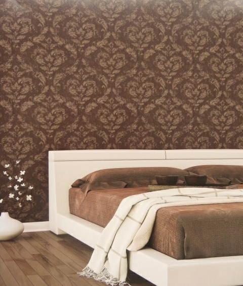 bronze damask wallpaper