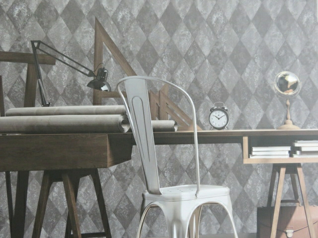 pewter diamond feature wallpaper