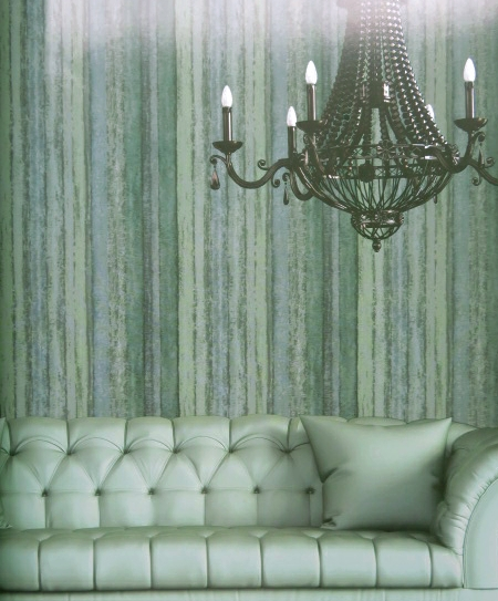 contemporary green striped wallpaper