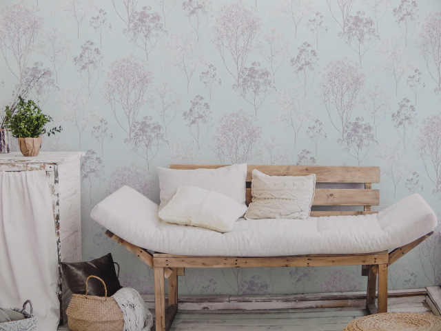 pale green tree wallpaper design