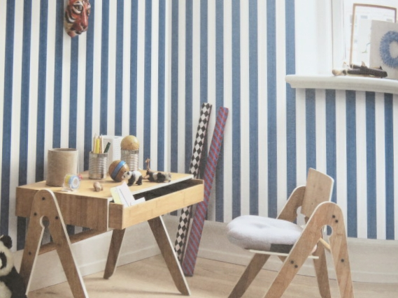 blue and white striped children's wallpaper