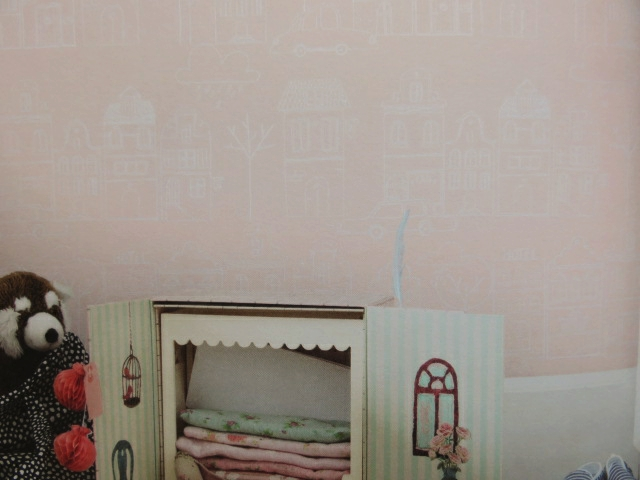 pink house nursery wallpaper