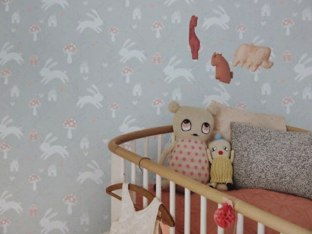 leaping rabbits nursery wallpaper