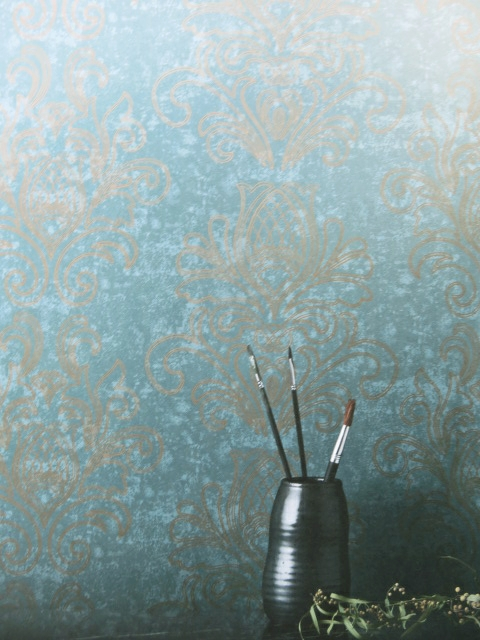 baroque feature wallpaper in blue and gold