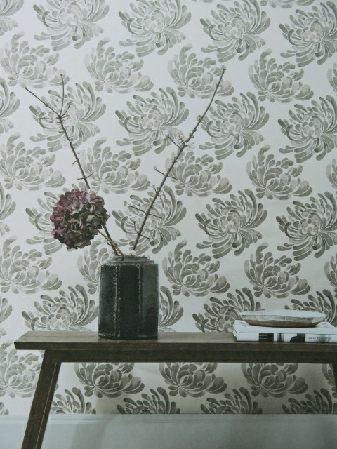 stencil flower wallpaper for bedroom or lounge