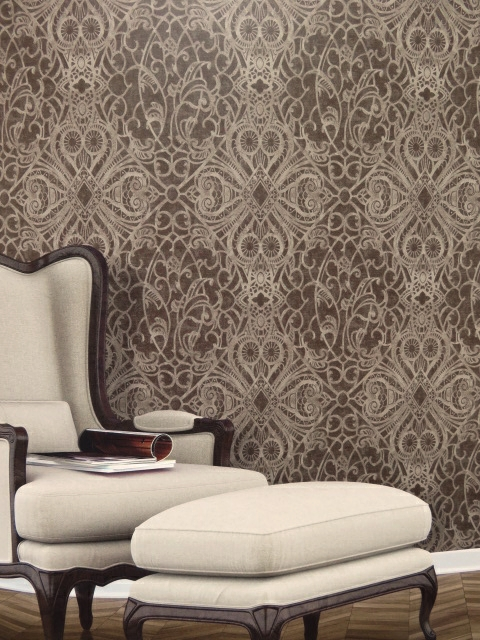 bronze patterned feature wallpaper