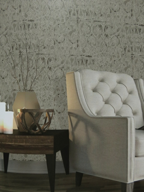 reflective feature wallpaper with classic detail