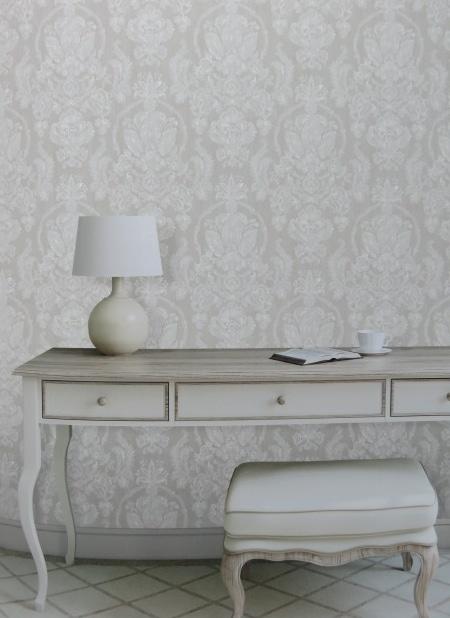 white damask wallpaper