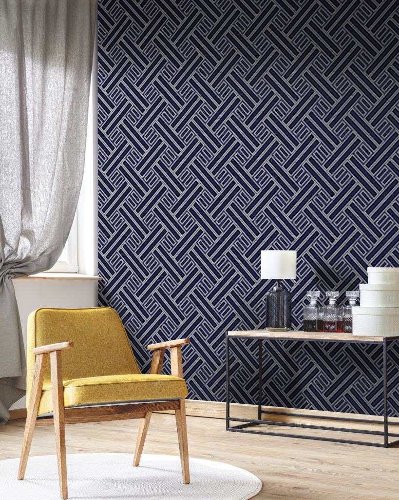 blue and black geometric wallpaper