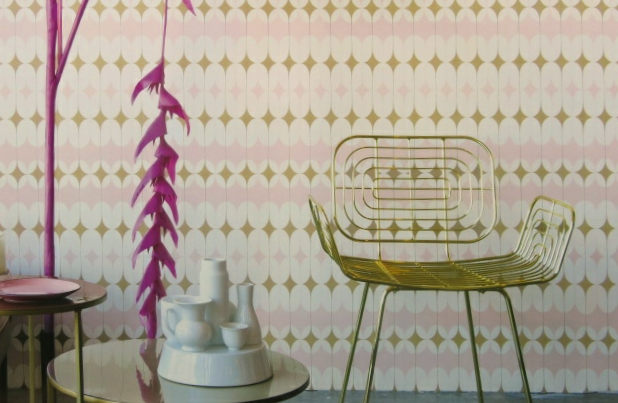 pink and gold geometric wallpaper