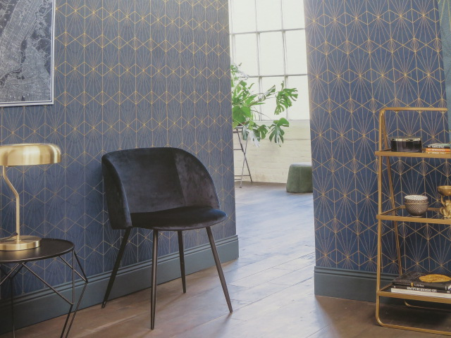 contemporary geometric blue and gold wallpaper