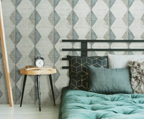 room image of geometric wallpaper