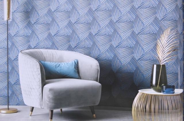 rich blue geometric wallpaper