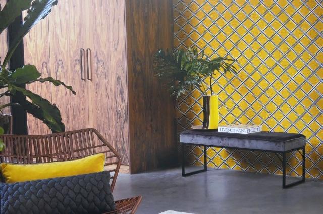 mustard trellis wallpaper