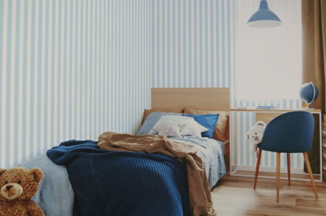 blue and white striped wall